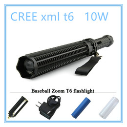 Wholesale Xml T6 Led Flashlight - lanterna powerful telescoping led cree xml t6 flashlight tactical torch baton flash light self defense 18650 OR AAA 3000 lumens