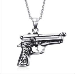 Wholesale Mens Military Necklaces - Unique Gun Pistol Necklaces & Pendants Punk Rock Men Mens Military Enthusiasts PN-538