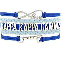 Wholesale Blue Light Themes - Custom-Infinity Love Kappaa Kappaa Gamma Key Charm Wrap Bracelets Light Blue Dark Blue Suede Leather Custom any Themes
