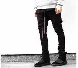 Wholesale Harem Jumpsuit Black - kanye hip hop clothing men joggers jumpsuit chino khaki black side zipper harem justin bieber Straight pants
