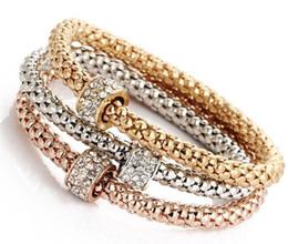 Wholesale Crystal Rhinestones For Bracelet - Alloy stretch bracelet Designer Austrian Rhinestones Gold Plated Charm Bracelets Popcorn Chain Jewelry For Women 3 PCS Set G283
