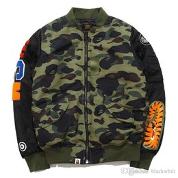 Wholesale Embroidery Services - New Men WGM Embroidery Shark MA1 Air Force Flight Jacket Male Baseball Service US Air Force Pilot Jacket