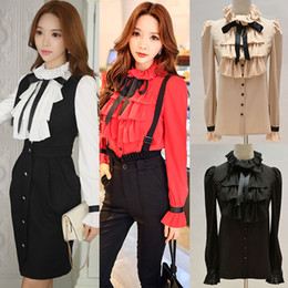 Wholesale Black Tie Neck Blouse - DABUWAWA Women Ruffled Neck Long Puff Sleeve Slim Shirt Bow Tie Top Blouses