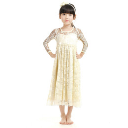 Wholesale Wholesale Custom Flower Girl Dresses - 2017 New Girl Lace Maxi Dress Full Length Kids Soft Cute Wedding Dress Boutique Girl Clothing Flower Dress with Bow Custom-made Clothes