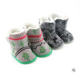 Wholesale Infant Girls Snow Boots - Christmas Baby Boots Winter Crib Boy Girl Shoes Warm 2 Colors Infant Toddler Newborn Prewalkers Reindeer Snow Shoes DHL Free Shipping