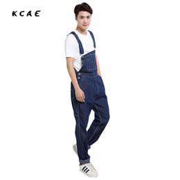 Wholesale Blue Bib Large - Wholesale- 2016 fashion Men's plus size blue overalls Large size 26-42 huge denim bib pants Fashion pocket jumpsuits Male