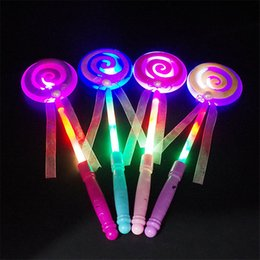 Wholesale Lollipop Sticks Wholesale - 2017 Christmas 33.5CM Cute Lollipop Toy Ribbons LED Glowing Stick Flashing Light For Xmas Wedding Birthday Party Decor Direct Factory Price