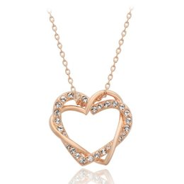 Wholesale Wholesale Nickel Free Necklace Chain - Wholesale-JS N005 Heart Necklaces Pendants Rose Gold And Silver Jewellery Nickel Free 2016 Women Necklace Wholesale Bridal Wedding Jewelry