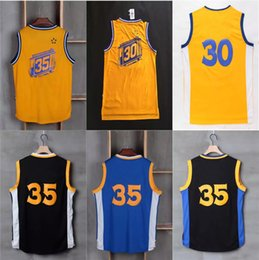 Wholesale Wholesale Curry - Wholesale 35 Kevin Durant 30 Stephen Curry Jerseys Blue White Yellow Black 2017 Cheap High quality basketball Jersey