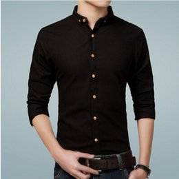 Wholesale Linen Mens Clothing - Wholesale- 2016 Casual Shirts Men 5XL Designer Brand Slim Fit Man Shirts Long Sleeve Black Cotton Linen Shirts For Mens Clothes CS666