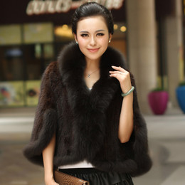 Wholesale Outerwear Woman Winter Fur Mink - Winter Women's Genuine Knitted Mink Fur Shawls With Fox Fur Collar Pashmina Capes Bat Sleeve Bridal Wraps Outerwear Coats