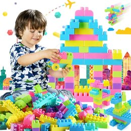 Wholesale Large Toy Bricks - Toy bricks blocks with bag Large plastic pieces of plastic fight assemble blocks building blocks baby educational toys good gifts for kids