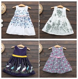 Wholesale Metallic Tulle - Kids clothing Girls dresses Children clothing Boutique 12 Styles 2017 summer girls prints florals dress 100%cotton Princess 2-7years