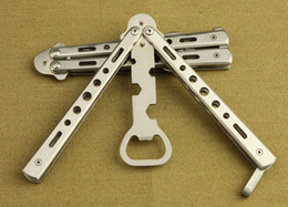 Wholesale Practice Balisong - Practice Balisong Butterfly Trainer Dull Knife Style Beer Bottle Opener