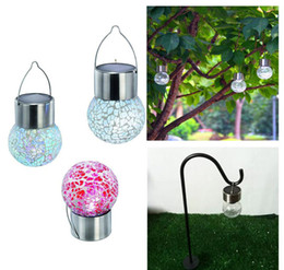 Wholesale Solar Lighted Garden Stakes - LED color changing Solar Lamps Garden Lawn Light Stake Path Crackle Glass Crack Ball Light glass Garden Lights Led Outdoor Solar Light Lamp