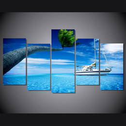Wholesale Sea Poster Landscape - 5 Pcs Set Framed HD Printed Sea Ocean Steamer Island Picture Wall Art Canvas Print Room Decor Poster Canvas Painting Wall
