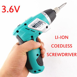 Wholesale Ion Screwdriver - LI-ION cordless screwdriver 3.6V home repair electric screwdriver 3.6V folding pistol Mini lithium rechargeable electric drill 20170107#