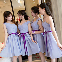 Wholesale Made Order Bridesmaid Dresses - Pleated Short Chiffon Bridesmaid Dresses Lace Up 2018 Knee Length Wedding Party Dress 4 Style Mixed order