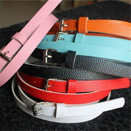 Wholesale Slender Waist Belts - Wholesale- HQ 2017 Summer Fashion Candy Color Thin Slender Women PU Faux Leather Adjustable Metal Buckle Waist Belt Waistband Strap 16-021
