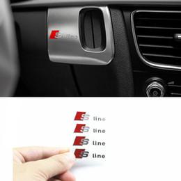 Emblème s en Ligne-100 pcs S Ligne Métal Porte De Voiture / fenêtre Emblème 3D Décoration Sline Autocollants Pour Audi S Sports A1 A3 A4 A5 A6 A7 A8 S8 Q3 Q5 Q7