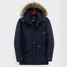 Wholesale Hoodies Full Collar - Large Size Jacket Men S Clothing Winter Long Coat Down Parkas Outdoor Outwear Overcoat Windbreaker Warm Thick Hoodies Fur Collar XXXL 2017