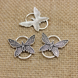 Wholesale Jewelry Butterfly Connectors - 25*27mm Antique Silver Metal Alloy butterfly Charms Findings Jewelry Connectors for Bracelets 60pcs CN274