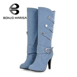 Wholesale Punk High Heels - Wholesale- BONJOMARISA Big Size Spring Fall Knee High Boots Women High Heels Winter Shoes Buckle Metal Rivets Round Toe Platform Punk Boots