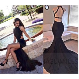 Wholesale Sexy Evening Dresses For Women - Sexy Black Backless Prom Dresses Mermaid Style 2017 Modest Slit Halter Beaded Sweep Train Formal Evening Pageant Gowns For Women