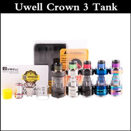 Wholesale Triple Crown - Top quality Uwell Crown 3 Sub-Ohm Tank 5ml Crown III Top Fill Design Tank Triple Airflow Slots Quartz Glass Tank