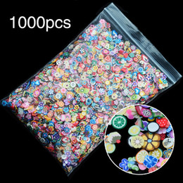 Wholesale Nails Design Stick - 1000pcs bag Feather Flowers Fruit Fimo Canes Stick 3D Nail Art Decorations Polymer Clay Canes Nail Stickers Tips 3mm Slices Design