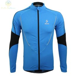 Wholesale Fitness Coat Winter - Wholesale-Winter Clothing Cycling Running Zip Fleece Men Long Sleeve Coat Jackets Outdoors Sports Fitness Tights 2016 Thermal Jersey 2017