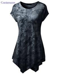 Wholesale Beige Tunic - Wholesale-Summer Top t-shirt Women Print tshirt Short Sleeve O-Neck Tie-Dye Long Tunic Top Irregular Hem T-shirt Loose Feamel Tops NTX015