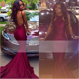 Wholesale Modern Plain Dress - Plain Simple Hot Burgundy Prom Dresses 2K17 African Americans Mermaid Halter Neck Sexy Open Back Long Party Dresses Evening Gowns Cheap