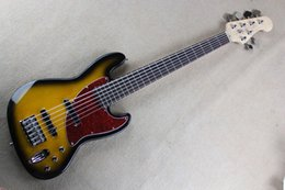 Wholesale Custom Shop Bass - Free Shipping Wholesale Custom Shop High Quality jazz 6 String Sunset yellow Bass Guitar with active pickups
