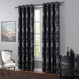 Wholesale Jacquard Blackout Curtain High End Classical European Black Curtains One Panel For Living Room Bedroom Polyester Blackout Curtain Drapes