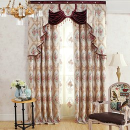 Wholesale Wine Red Curtains - High-end 3D Relief European work jacquard Window Blackout Curtain for Living Room Bedroom hotel red wine wholesale fabric price free ship