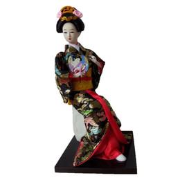 Wholesale Kimono Decoration - 25cm sitting Japanese geisha Resin Statuette Ethnic Japanese Geisha Dolls Kimono Dolls Home Decoration
