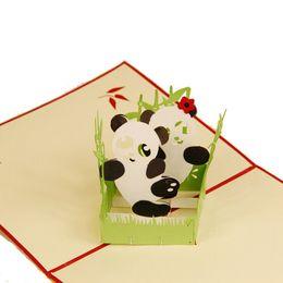 Детские открытки ручной работы онлайн-(10 шт./лот)творческий 3D милые панды Поздравительная открытка пользовательские ручной работы Фестиваль карты подарок на День рождения подарок для детей