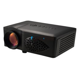 Wholesale Dlp Glasses - Wholesale-ATCO Portable Mini LED Projector 800*480 Multimedia Home Cinema Theater VGA HDMI USB SD AV Proyector With Free 3D glasses