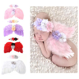 Wholesale Bamboo Hair Sticks - Lace Girls Headbands Set Floral Newborn Hair Bands Baby Headband Photography Toddler Wing Suit Handmade Headwear Angel Clothes #Y