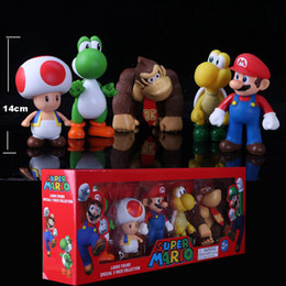 Wholesale Toad Doll - Super Mario toy Bros Peach Toad Mario Luigi Yoshi Donkey Kong PVC Action Figure Toys Dolls 5pcs set New in Box Toys For Children