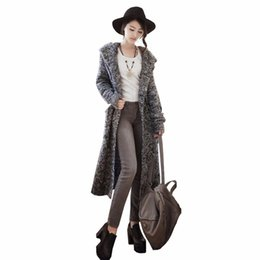 Wholesale Hooded Womens Trench Coat - Wholesale-Female Sweater 2016 New Fashion Brand Winter Womens Sweaters Coat Long Loose Trench Cardigans Ladies Hooded Knittwear One Size