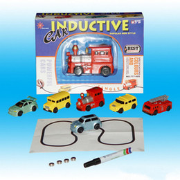 Wholesale Magic Truck - Toy Tanks cars trucks electric Magic Inductive Fangle Vehicles following the line you draw Gift Box Packing Free Shipping