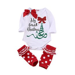 Wholesale Baby Autumn Winter Cotton Bodysuit - 2017 New Arrive Autumn Cute Newborn Baby Girl Long Sleeve Bow Romper Bodysuit Sock Outfits Clothes Christmas