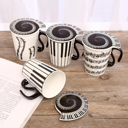 Wholesale Music Cup - Creative Ceramic Musician Coffee Mug Tea Cup With Lid Music Notes As Valentine's Day Gift Teacher Gifts CCA7894 60pcs
