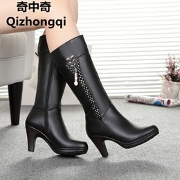 Wholesale Wool Lined Snow Boots - 2017 Winter Women's Genuine Leather High-heeled Boots, Wool Lined Half Boots, Fashion High Quality Motorcycle Boots, Free Shipping