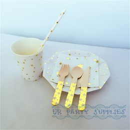 Wholesale Party Utensils - Wholesale- 120 Sets Sweet Salad Tableware Gold Star Party Paper Plates Cups Straws Napkins Wooden Utensils for Wedding New Year Decoration