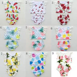 Wholesale American Children S Clothing - New baby Girls Floral outfits Summer lace Flying sleeves kids Lemon prints suits children clothes C2415