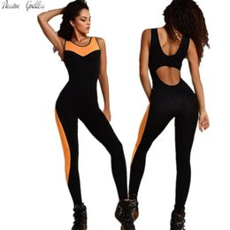 Wholesale Dance Rompers - Wholesale- Sexy LadyJumpsuit Sleeveless Backless Overalls Women Patchwork Fitness Bodysuit Elastic Rompers Jogger Dancing Overalls Playsuit