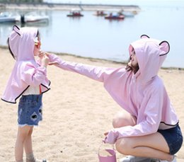 Wholesale Beach Bats - Mother dauther clothes girls cute bear ear hooded outwear womens bat sleeve long sleeve coat 2017 summer Family beach sunblock clothes T4713